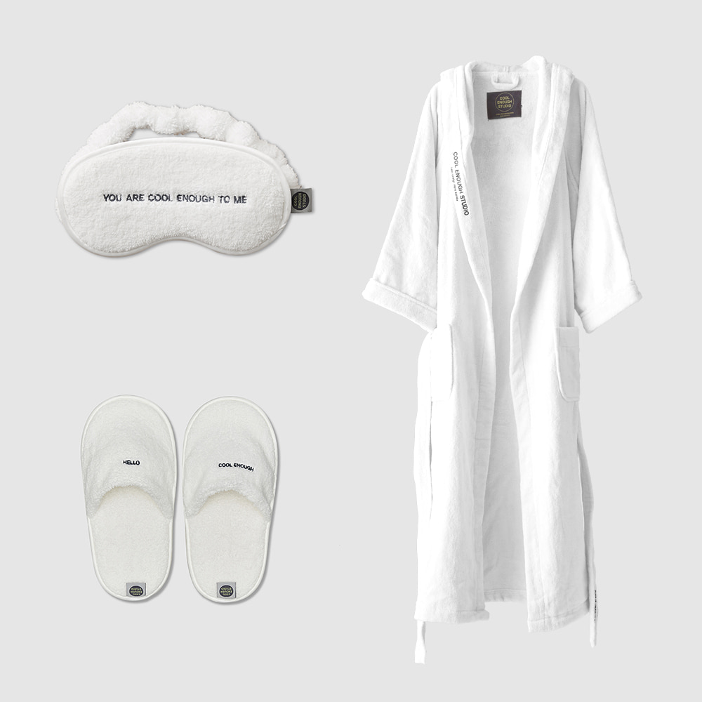 THE ROBE + THE SLEEPING MASK + THE TOWEL SLIPPERS